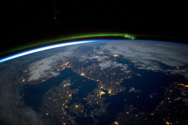 Scandinavia by Night, Nordic Lights - aerial image / satellite photo